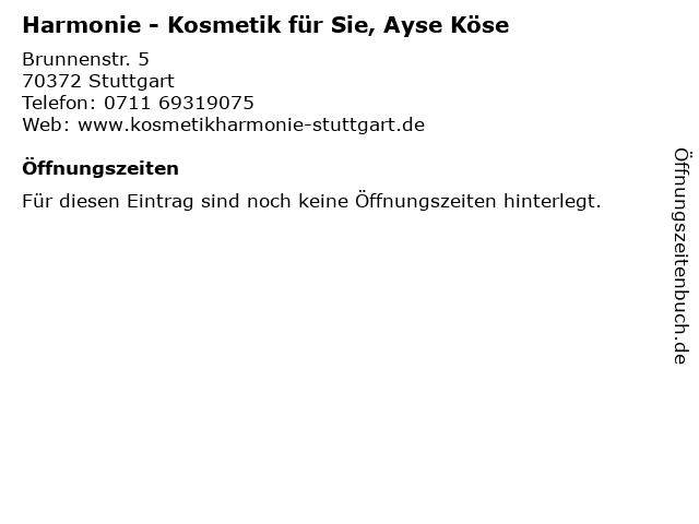 Harmonie - Kosmetik für Sie, Ayse Köse in Stuttgart: Adresse und Öffnungszeiten