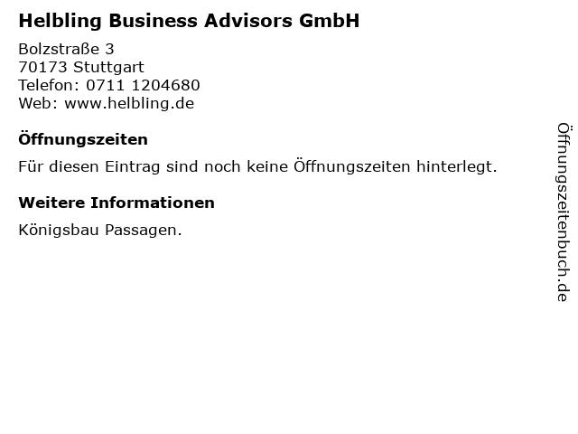 Helbling Business Advisors GmbH in Stuttgart: Adresse und Öffnungszeiten