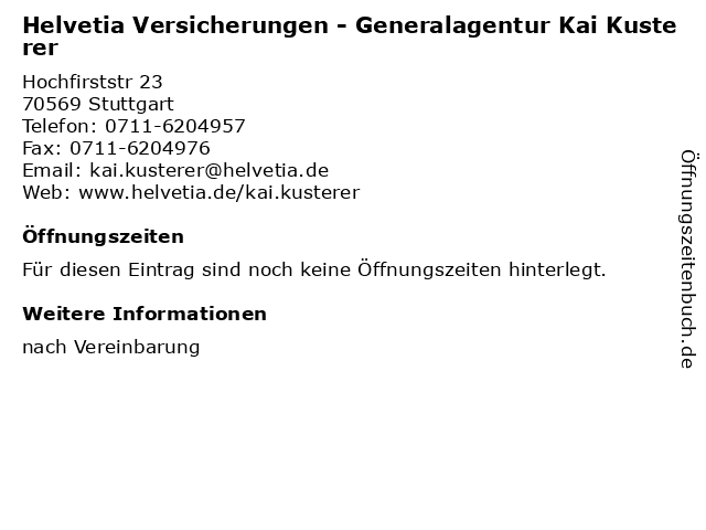 ᐅ Offnungszeiten Helvetia Versicherungen Generalagentur Kai