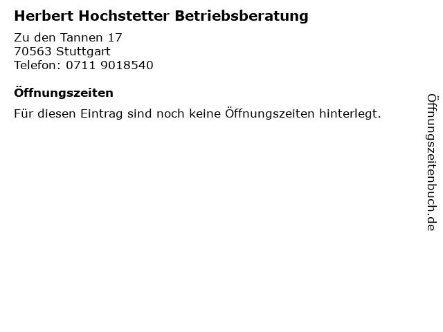 Herbert Hochstetter Betriebsberatung in Stuttgart: Adresse und Öffnungszeiten