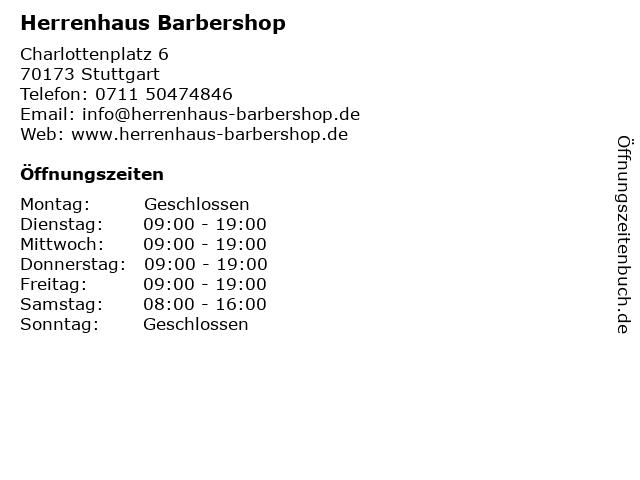 Herrenhaus Barbershop in Stuttgart: Adresse und Öffnungszeiten