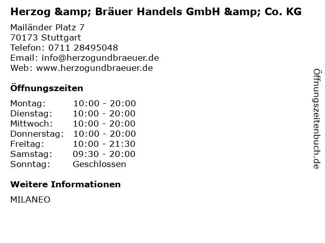 Herzog & Bräuer Handels GmbH & Co. KG in Stuttgart: Adresse und Öffnungszeiten