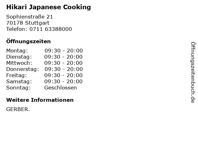 Hikari Japanese Cooking in Stuttgart: Adresse und Öffnungszeiten