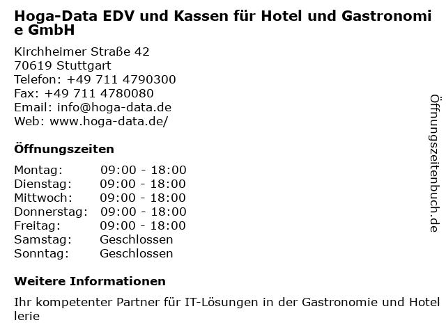 Hoga-Data EDV und Kassen für Hotel und Gastronomie GmbH in Stuttgart: Adresse und Öffnungszeiten