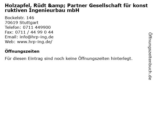 Holzapfel, Rüdt & Partner Gesellschaft für konstruktiven Ingenieurbau mbH in Stuttgart: Adresse und Öffnungszeiten
