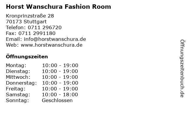 Horst Wanschura Fashion Room in Stuttgart: Adresse und Öffnungszeiten