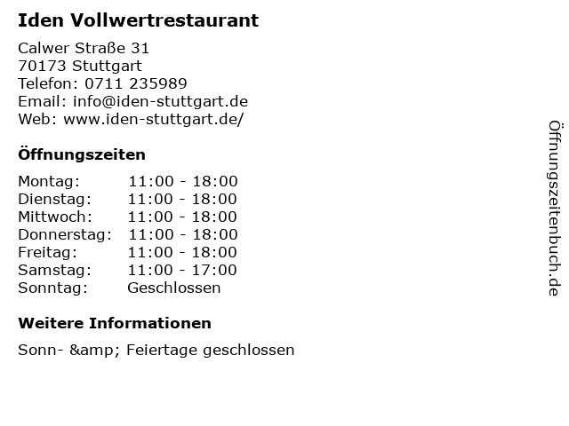 Iden Vollwertrestaurant in Stuttgart: Adresse und Öffnungszeiten