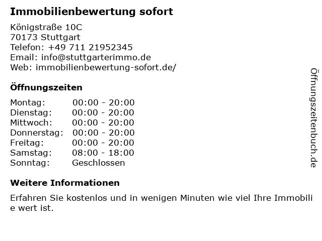 Immobilienbewertung sofort in Stuttgart: Adresse und Öffnungszeiten