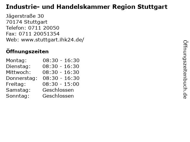 Industrie- und Handelskammer Region Stuttgart in Stuttgart: Adresse und Öffnungszeiten