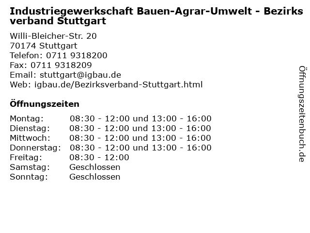 Industriegewerkschaft Bauen-Agrar-Umwelt - Bezirksverband Stuttgart in Stuttgart: Adresse und Öffnungszeiten