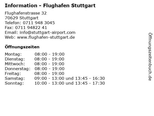 Information - Flughafen Stuttgart in Stuttgart: Adresse und Öffnungszeiten