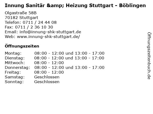 Innung Sanitär & Heizung Stuttgart - Böblingen in Stuttgart: Adresse und Öffnungszeiten