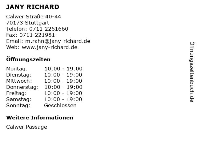 JANY RICHARD in Stuttgart: Adresse und Öffnungszeiten