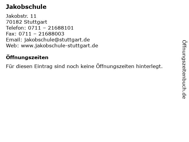 Jakobschule in Stuttgart: Adresse und Öffnungszeiten