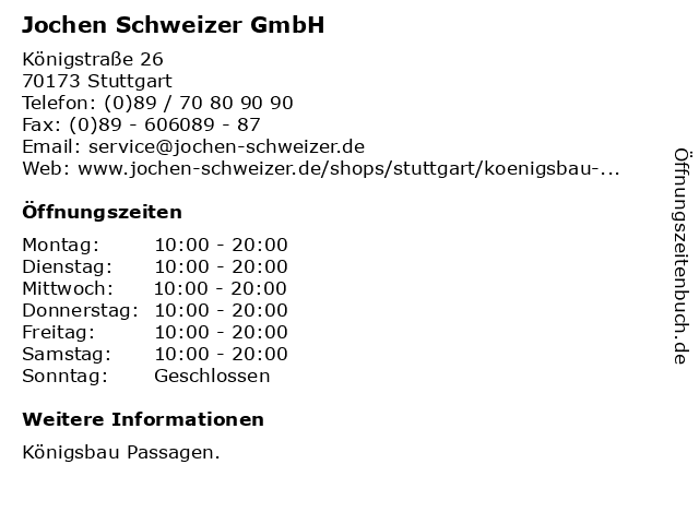 Jochen Schweizer GmbH in Stuttgart: Adresse und Öffnungszeiten