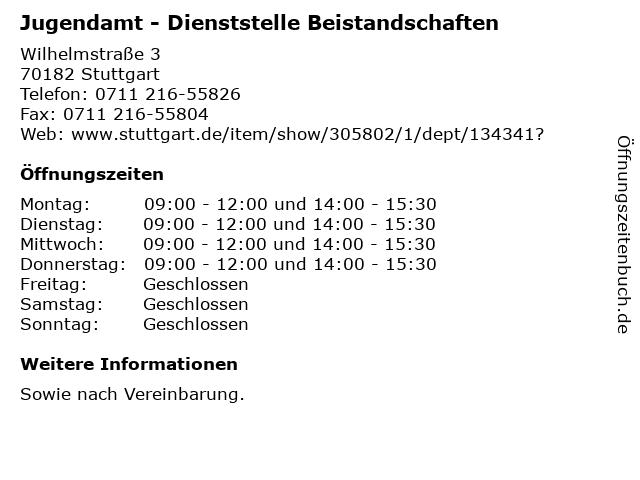 Jugendamt - Dienststelle Beistandschaften in Stuttgart: Adresse und Öffnungszeiten