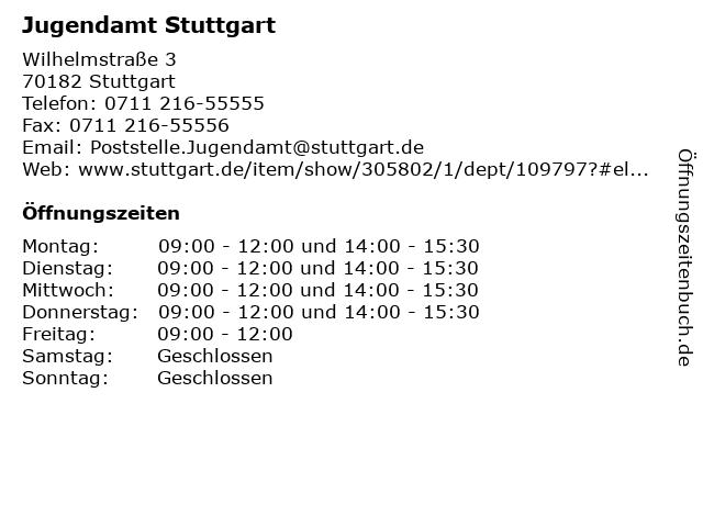 Jugendamt Stuttgart in Stuttgart: Adresse und Öffnungszeiten