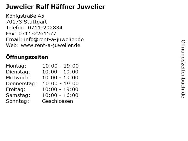 Juwelier Ralf Häffner Juwelier in Stuttgart: Adresse und Öffnungszeiten