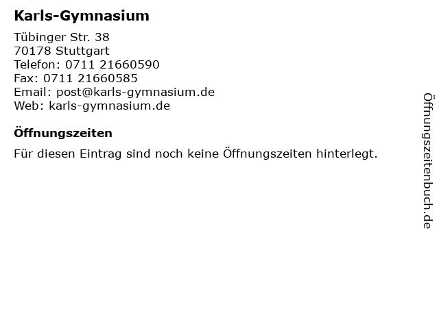 Karls-Gymnasium in Stuttgart: Adresse und Öffnungszeiten