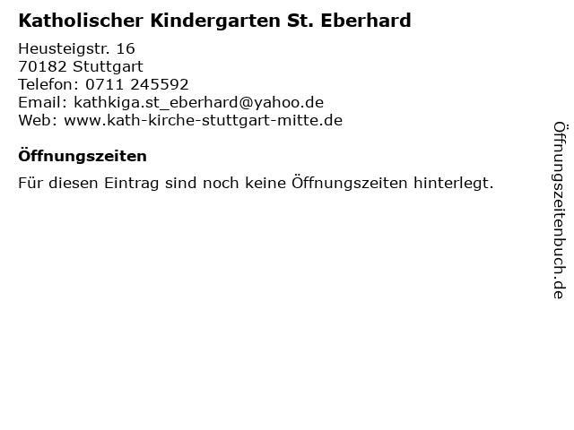 Katholischer Kindergarten St. Eberhard in Stuttgart: Adresse und Öffnungszeiten