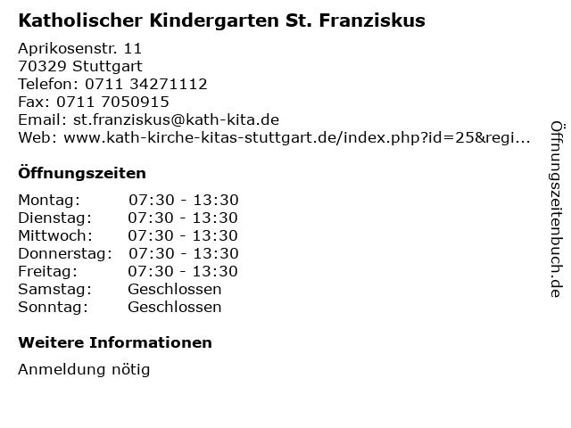 Katholischer Kindergarten St. Franziskus in Stuttgart: Adresse und Öffnungszeiten