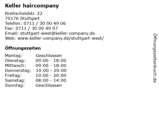 Keller haircompany in Stuttgart: Adresse und Öffnungszeiten