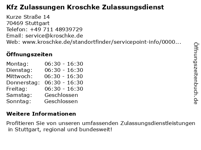 Kfz Zulassungen und Kennzeichen Kroschke in Stuttgart: Adresse und Öffnungszeiten