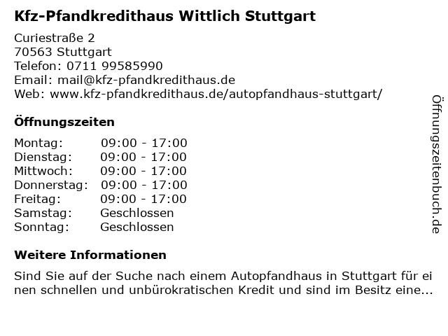 Kfz-Pfandkredithaus Wittlich in Stuttgart: Adresse und Öffnungszeiten