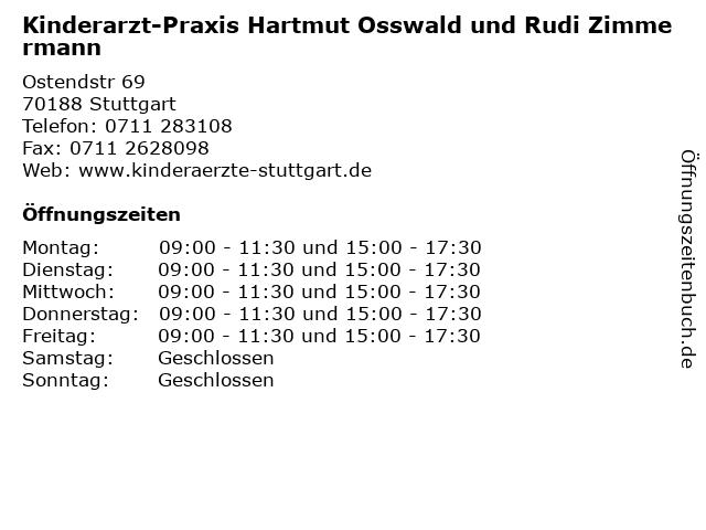 Kinderarzt-Praxis Hartmut Osswald und Rudi Zimmermann in Stuttgart: Adresse und Öffnungszeiten