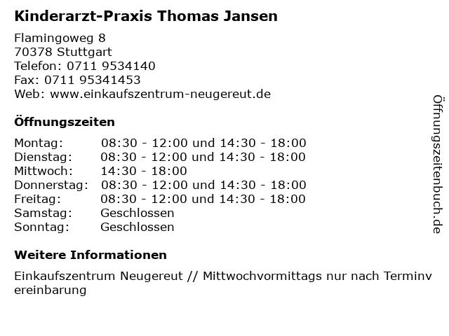 Kinderarzt-Praxis Thomas Jansen in Stuttgart: Adresse und Öffnungszeiten