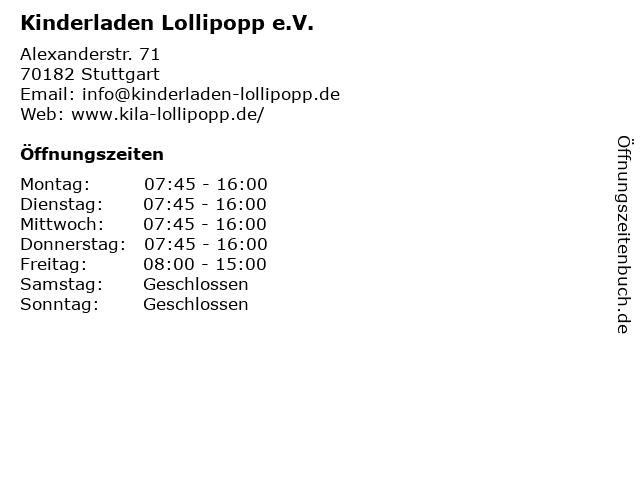 Kinderladen Lollipopp e.V. in Stuttgart: Adresse und Öffnungszeiten