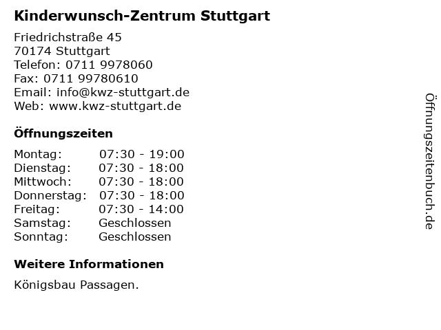 Kinderwunsch-Zentrum Stuttgart in Stuttgart: Adresse und Öffnungszeiten