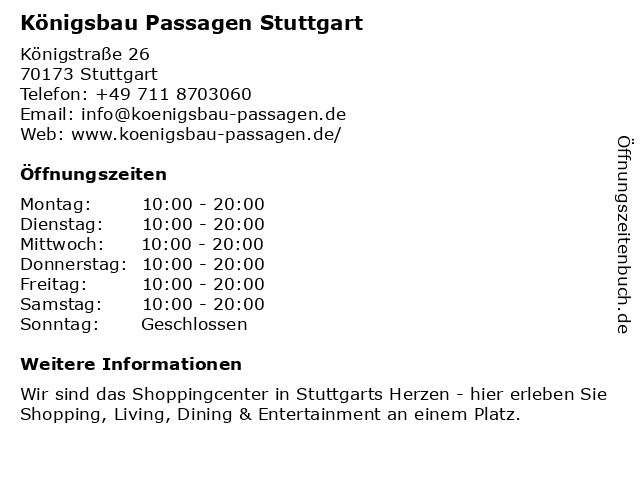 Königsbau Passagen Stuttgart in Stuttgart: Adresse und Öffnungszeiten