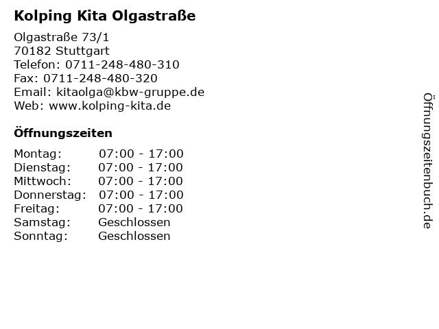 Kolping Kita Olgastraße in Stuttgart: Adresse und Öffnungszeiten