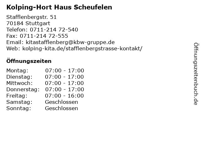 Kolping-Hort Haus Scheufelen in Stuttgart: Adresse und Öffnungszeiten