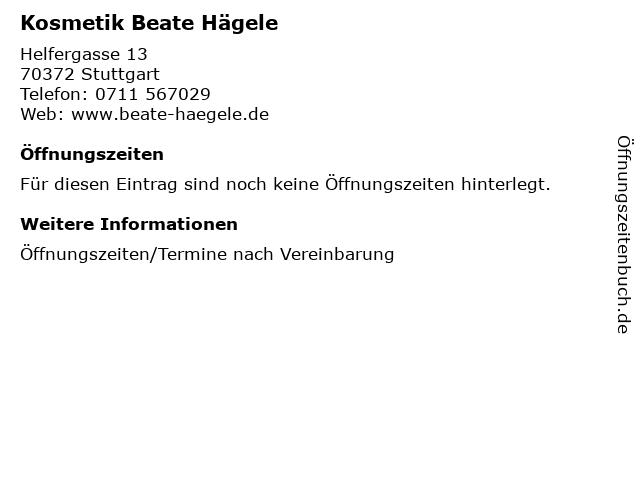 Kosmetik Beate Hägele in Stuttgart: Adresse und Öffnungszeiten