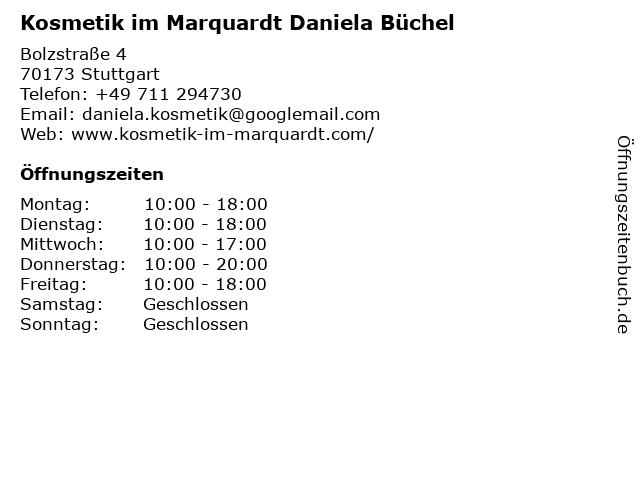 Kosmetik im Marquardt Daniela Büchel in Stuttgart: Adresse und Öffnungszeiten