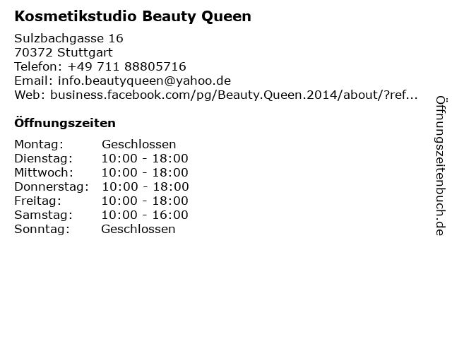 Kosmetikstudio Beauty Queen in Stuttgart: Adresse und Öffnungszeiten