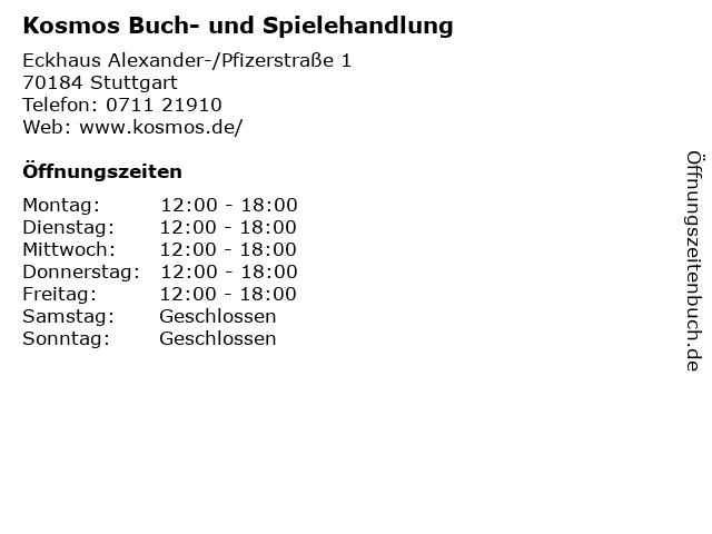 Kosmos Buch- und Spielehandlung in Stuttgart: Adresse und Öffnungszeiten
