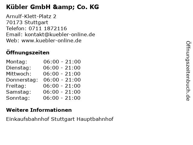 Kübler GmbH & Co. KG in Stuttgart: Adresse und Öffnungszeiten