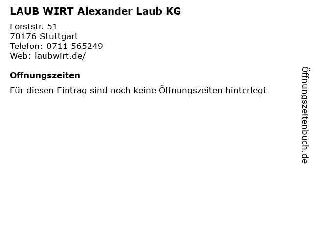LAUB WIRT Alexander Laub KG in Stuttgart: Adresse und Öffnungszeiten