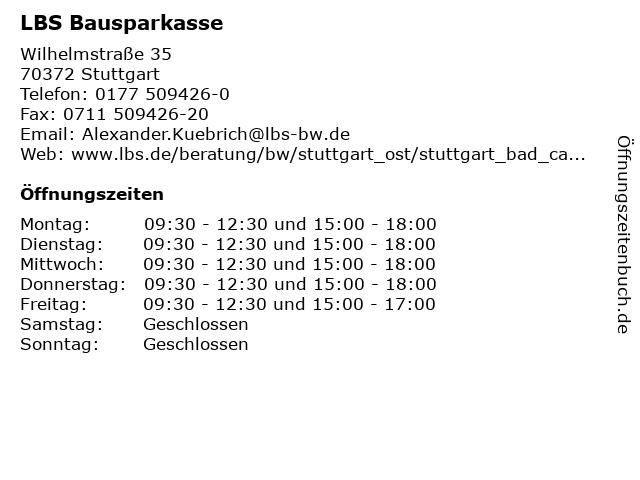 LBS Bausparkasse in Stuttgart: Adresse und Öffnungszeiten