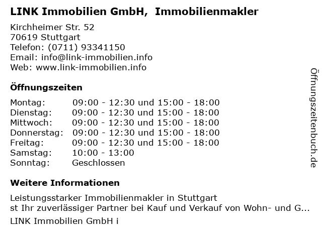 LINK Immobilien GmbH,  Immobilienmakler in Stuttgart: Adresse und Öffnungszeiten