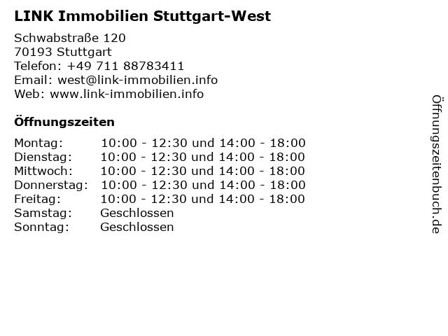 LINK Immobilien Stuttgart-West in Stuttgart: Adresse und Öffnungszeiten