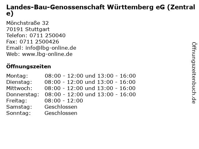Landes-Bau-Genossenschaft Württemberg eG (Zentrale) in Stuttgart: Adresse und Öffnungszeiten