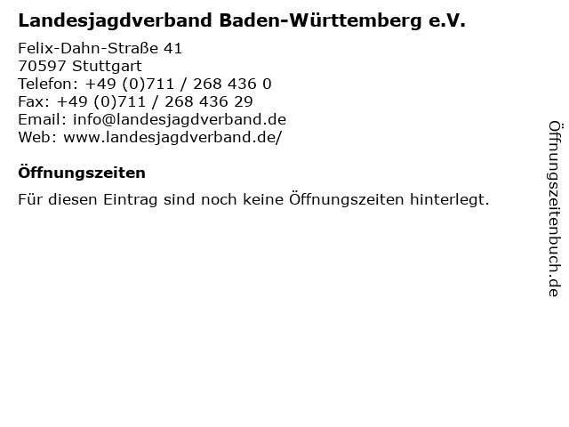 Landesjagdverband Baden-Württemberg e.V. in Stuttgart: Adresse und Öffnungszeiten