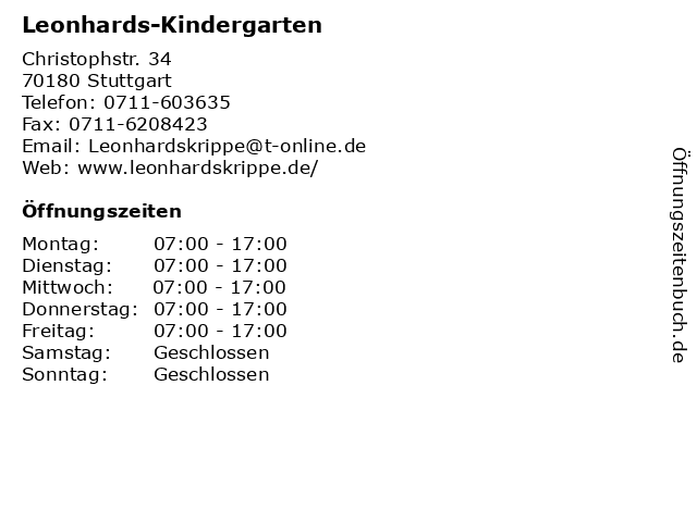 Leonhards-Kindergarten in Stuttgart: Adresse und Öffnungszeiten