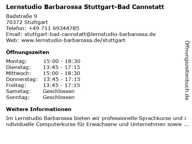 Lernstudio Barbarossa Stuttgart-Bad Cannstatt in Stuttgart: Adresse und Öffnungszeiten