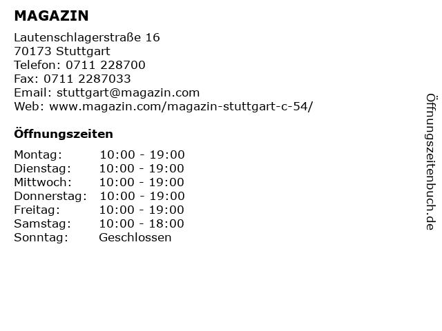 MAGAZIN in Stuttgart: Adresse und Öffnungszeiten