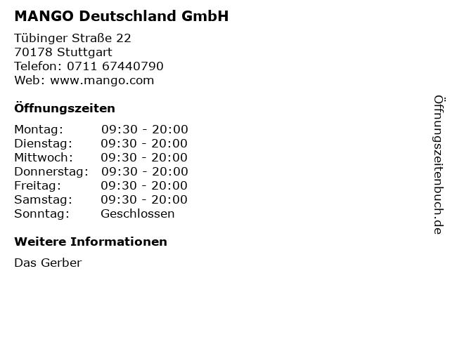 MANGO Deutschland GmbH in Stuttgart: Adresse und Öffnungszeiten
